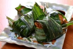 Thaise kip in pandanblad