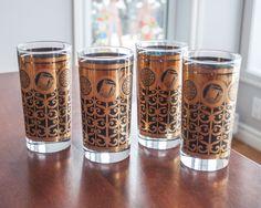 4 verres de style CULVER de couleur noir/or old fashion - Vintage/mid century de la boutique 3rvintages sur Etsy