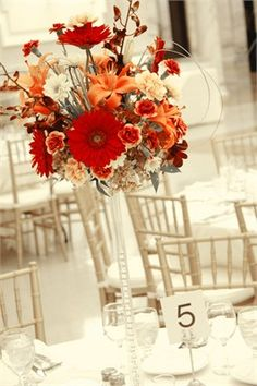 Red and orange floral centrepiece