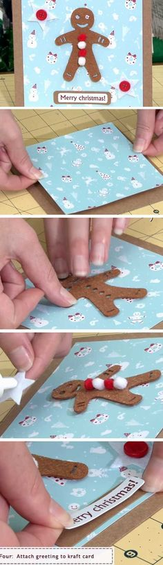 Gingerbread Man | 20 + DIY Christmas Cards for Kids to Make