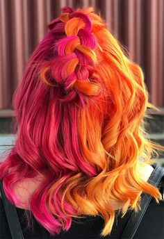 Orange Hair Dye, Pink And Orange Hair, Pink Hair Dye, Magenta Hair Colors, Hair Dye Colors, Hair Color Shades, Hair Colour, Color Red, Purple