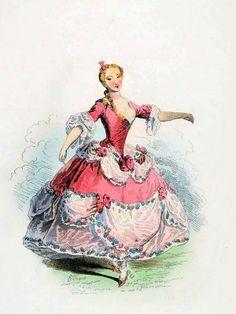 Marie Sallé. Famous Parisian Opera Dancer in Rococo costume.  1730