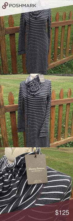 Tommy Bahama Beachwood Reversible Funnel Dress NEW Size medium. Dark grey and white stripes. Reversible. New with tags. Be sure to view the other items in our closet. We offer  women's, Mens and kids items in a variety of sizes. Bundle and save!! We love reasonable offers!! Thank you for viewing our item!! Tommy Bahama Dresses