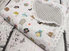 FREE SHIPPING OOAK Flannel Crochet Edging Blanket   by FreckldHen, $36.00