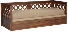 Buy Bogota Sofa Cum Bed with Mattress in Provincial Teak Finish by Woodsworth Online - Solid Wood - Sofa Cum Beds - Pepperfry - Petra Stiegeler - Living Room Wooden Sofa Set Designs, Wood Bed Design, Couch Design, Living Room Sofa Design, Living Rooms, Wooden Couch, Wood Sofa, Sofa Cumbed, Sofa Furniture