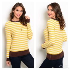 Brown mustard sweater Comfy sweater features a round neckline with solid ribbing, long sleeves and two tone design. That glam girl boutique Sweaters