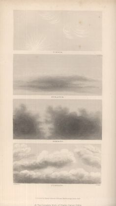 Cirrus/Stratus/Nimbus/Cumulus. Overview of illustrations and maps in Journal of Researches / FitzRoy, R. 1839. Proceedings of the second expedition, 1831-36, under the command of Captain Robert Fitz-Roy, R.N. / Appendix / Clouds via: darwin-online