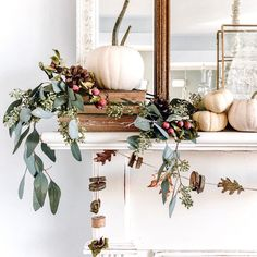 Fall Mantel Decorations, Thanksgiving Decorations, Seasonal Decor, Garland Decoration, Diy Thanksgiving, Diy Garland, Table Decorations, Halloween Decorations, Fall Home Decor