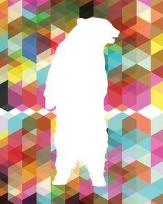 Bear Silhouette White bear on geometric pattern by DIYwallART