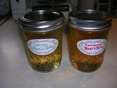 Basil jelly using cinnamon basil, lemon basil, or lime basil.  Can substitute white wine vinegar for rice vinegar