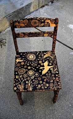 custom small chair-emblazoned with an ooak night forest