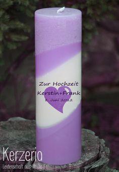 Edle Hochzeitskerze Lavendel von Kerzeria auf DaWanda.com