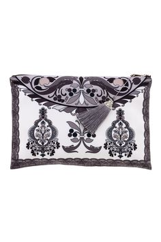 """Elegant clutch beautifully printed on the inside and outside. The clutch zips closed and has a tassel and silver detail charm.    Approx. Measures: 8"""" x 11"""".   Greek Goddess Clutch by Racine. Bags - Clutches - Casual Texas"""