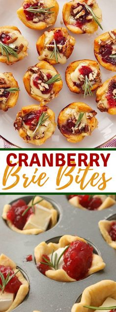 Cranberry Brie Bites are an excessively simple however excellent hors d'oeuvre. Made with sickle move batter, brie, entire cranberry sauce and a sprig of rosemary! Brie Bites, Brie Appetizer, Holiday Appetizers, Appetizers For Dinner Party, Cranberry Appetizer Recipes, Baked Brie Cranberry, One Bite Appetizers, Vegetarian Appetizers, Holiday Snacks