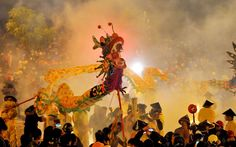 Residents welcome a traditional dragon dance to celebrate the ongoing Lunar New Year in Binyang, China