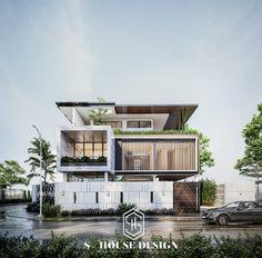 Biệt thự đẹp - Beautiful villa - 아름다운 빌라 - 美丽的别墅 on Behance Modern Exterior House Designs, Modern House Facades, Modern Villa Design, Dream House Exterior, Latest House Designs, House Outside Design, House Front Design, Small House Design, Tropical House Design