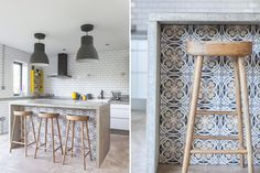 Kitchen Island Ideas A tiled design is a nice detail, instead of the usual wood paneled island front.Control panel Control panel may refer to: Diy Kitchen Island Extension, Island Kitchen, New Kitchen, Kitchen Decor, Cocina Diy, Bungalow Renovation, Tuile, Subway Tiles, Bars For Home