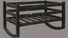 Found at Pompeii ~ Carbonised wooden cradle. @ Trustees of the British Museum