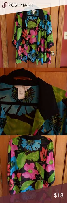 """Colorful Spanner beach cover up blouse Bold and beautiful floral design for this beach cover up/kimono type blouse.  Semi sheer and great for layering.  It was just a little too big for my height and frame (5'2"""").  Open style, no buttons.  23"""" flat across under the armpits, 30"""" length.  100% polyester spanner Tops"""