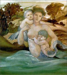"Edward Burne-Jones (1833-1898) - ""Mermaid With Her Offspring."""