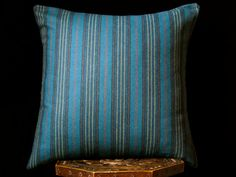 "Wool  pillow cover, 20""x20"", 24"" x24"" , dark teal pillow, woven accent pillow, striped throw pillow, masculine pillow cover, masculine gift"