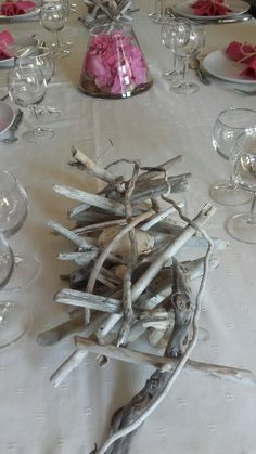 Centre de table en bois flotté et coquillages