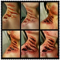 Werewolf Attack fx makeup using smooth ons skin tite.