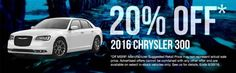 Come in to Russ Darrow Chrysler Jeep Dodge Ram today for 20% off a 2016 Chrysler 300!