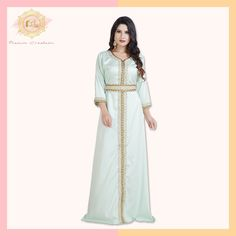If minimal chic is your style, this pristine Gandoura Kaftan is just what you need!  It's made with luxurious satin and is lined from the inside.  Product no: 7998 Pistachio Color, Kaftan Abaya, Arabic Dress, Moroccan Caftan, 3 4 Sleeve Dress, Minimal Chic, Satin Fabric, Trendy Fashion, Night Out