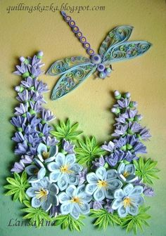 Bluebonnets! But I could do without the dragonfly. Dragonfly and flowers #quilled insect flowers.