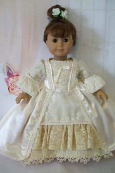 American Girl Doll Clothes -Satin Masquerade - Period Marie Antoinette - Ball Gown - 18 inch Dolls