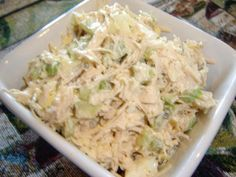 Guiltless and satisfying for low carbers, a new twist on chicken salad. Makes a very hearty lunch. Prep time does not include time to cook chicken and boil the egg.