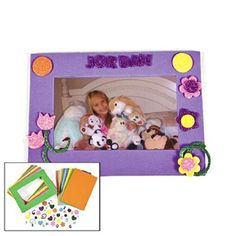 Glitter Foam Photo Frame Craft Kits (1 dz) by Fun Express. $24.37. Includes Self - Adhesive Foam Pieces.. 1 Dozen Glitter Foam Photo Frame Craft Kits.. Photo Space Holds 3 Inch x 5 Inch Picture.. Photo Frames Measure 7 Inches.. Girls love making hand made items to give to their best friends, especially cute craft projects like like Glitter Foam Photo Frame Craft Kits. These kits are perfect for sleepovers or girly birthday parties.