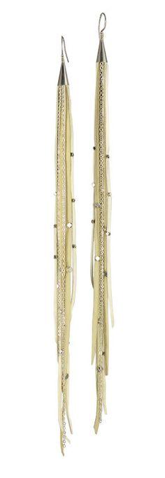 Medium Sterling Silver Deer Skin Leather Chandelier Earrings | Handmade Deerskin Leather Earrings by Sonia Lub | Sonia Lub | Handmade Neo Tribal Jewelry