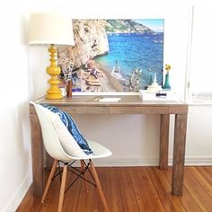 Looking for something calming? Try a combo of wood, blue, and yellow. | 18 Home Offices That Will Give You New Decor Goals