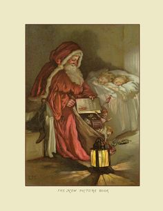 """""""Now wake little people dressed in white, Old Father Christmas came last night; He crammed your stocking – and, children, look! He brought you a coloured picture book."""" From 'Old Father Christmas' by Lizzie Mack and Robert Ellice Mack (classmark Christmas Card Crafts, Old Christmas, Victorian Christmas, Father Christmas, Vintage Christmas Cards, Christmas Pictures, Xmas Cards, Beautiful Christmas, Christmas Decorations"""