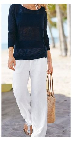 Skinny Pants Outfits, Linen Pants Outfit, Summer Pants Outfits, White Pants Outfit, Black Linen Pants, Cute Skirt Outfits, Black Skinny Pants, Casual Outfits, Outfit Summer