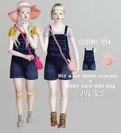 Clothing set 4 overalls and rabbit mini bag by Julies - Sims 3 Downloads CC Caboodle