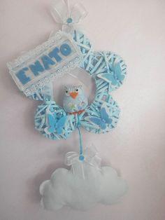 Fiocco nascita gufetto azzurro! www.minimondodianita.com