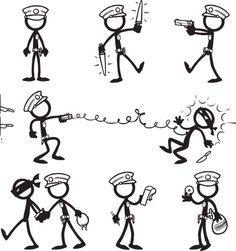Stick Figure Police vector art illustration