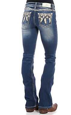 Miss Me Women's Dark Wash Sweet Feeling Embroidered Boot Cut Jeans Country Girls Outfits, Western Outfits, Western Wear, Girl Outfits, Bling Jeans, Women's Jeans, Cut Jeans, Kevlar Jeans, Cowgirl Tuff Jeans
