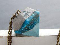 Kette - Diamant aus Beton und Resin mit Glitzer