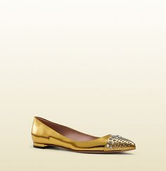 Gucci Studded Gold Metallic Leather Ballet Flats; $620.00