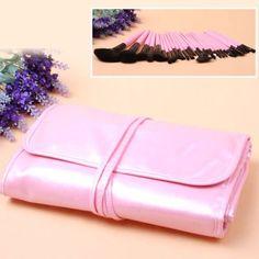 31PCS Make Up Brushes Set Soft Hair Brushes with Bright Pink Bag -Pink $11.48