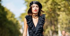 Everyone In Paris Is Wearing A Leather Beret #refinery29 http://www.refinery29.com/2017/09/174062/paris-fashion-week-street-style-spring-2018
