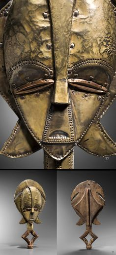 Africa | Kota reliquary figure from Gabon; wood, brass, copper and nails. H:  42 cms || ca. end 19th century
