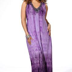 Purple Beaded Tie Dye Maxi Dress -Plus Size Maxi Dress-Avenue