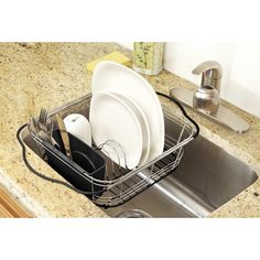 This Kitchen Details Expandable Dish Drainer includes a rubber bottom for non-slip support. Put this dish drainer atop your sink to drain all the water off of your newly washed dishes for a dryer, more clean dish!