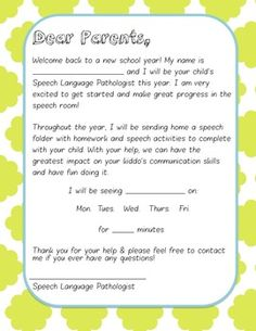 Schoolhouse talk back to school week slp introduction letter for this letter is a good resource to supply your speech parents with an introduction for the altavistaventures Images