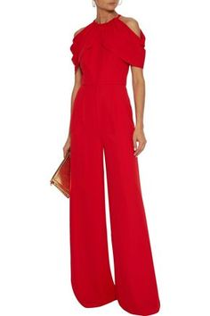 Shop on-sale Cold-shoulder draped crepe wide-leg jumpsuit. Browse other discount designer Full Length Jumpsuits & more luxury fashion pieces at THE OUTNET Coat Dress, Jacket Dress, Dress Outfits, Fashion Outfits, Dresses, Red Jumpsuit, World Of Fashion, Wide Leg, Cold Shoulder